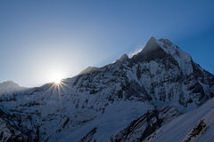 Machhapuchhre at sunrise Royalty Free Stock Photos