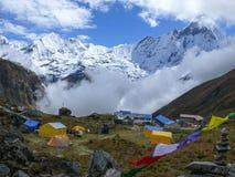 Machhapuchhre van Annapurna-Basiskamp stock afbeelding