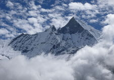 Machhapuchhre view. View from South Annapurna Base Camp in Nepal Stock Photo