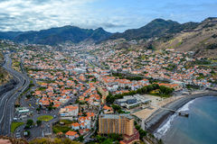 Machico. Madeira. View of the city from a high mountain Stock Photography