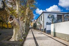 Machico perto do aeroporto em Madeira, Portugal fotografia de stock royalty free