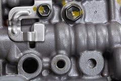 Machinalna część z metali składnikami i hydraulicznymi klapami Zdjęcia Royalty Free