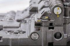 Machinalna część z metali składnikami i hydraulicznymi klapami Obrazy Stock