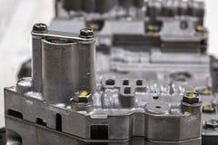 Machinalna część z metali składnikami i hydraulicznymi klapami Obraz Stock