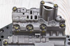 Machinalna część z metali składnikami i hydraulicznymi klapami Obrazy Royalty Free