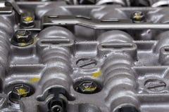 Machinalna część z metali składnikami i hydraulicznymi klapami Zdjęcie Stock