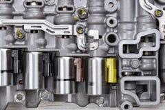 Machinalna część z metali składnikami i hydraulicznymi klapami Zdjęcie Royalty Free