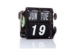 Machinalna kalendarzowa retro data odizolowywająca Obraz Stock