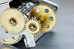 Machinalni metalu mosiądza gearwheels Tablica wyników mechanizm Obrazy Stock