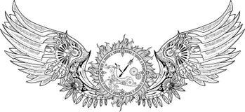 Machinalni skrzydła robić w steampunk projektują z clockwork royalty ilustracja