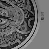 Machinalni zegarów szczegóły z Geometrycznymi wzorami inside Fotografia Stock