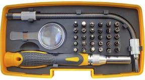 Machinalny kawałka narzędzie ustawia odosobnionego na białym tle Zdjęcie Royalty Free