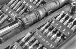 Machinalny kawałka narzędzie ustawiający w czarny i biały Fotografia Royalty Free