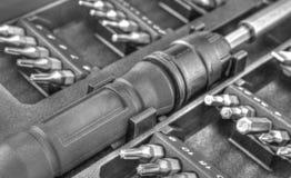Machinalny kawałka narzędzie ustawiający w czarny i biały Obrazy Royalty Free