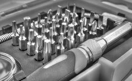 Machinalny kawałka narzędzie ustawiający w czarny i biały Zdjęcia Stock