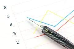 Machinalny ołówkowy punkt punkt na kreskowych wykresach. Obrazy Stock