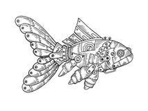 Machinalny rybi zwierzęcy rytownictwo wektor ilustracja wektor