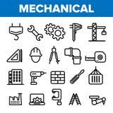 Machinant la ligne vecteur d'ensemble d'icône Technicien Design Icônes d'ingénierie de machines Production industrielle d'usine m illustration de vecteur