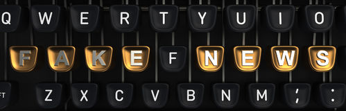 Machine à écrire avec de faux bulletins d'information sur des boutons rendu 3d Photographie stock