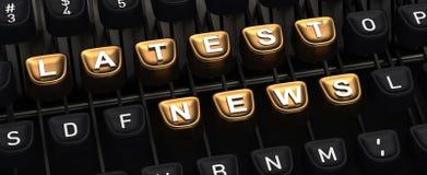 Machine à écrire avec des boutons de DERNIÈRES NOUVELLES Images stock