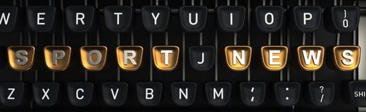 Machine à écrire avec des bulletins d'information de SPORT sur des boutons rendu 3d Photo stock