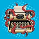 Machine à écrire avec le vecteur d'art de bruit de tentacules de poulpe Image stock
