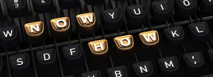 Machine à écrire avec MAINTENANT COMMENT boutons Photos libres de droits