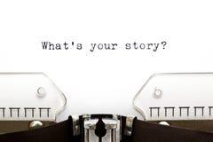 Machine à écrire ce qui est votre histoire Image libre de droits