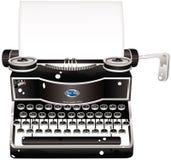 Machine à écrire démodée et papier blanc Images libres de droits