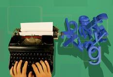 Machine à écrire et lettres 3d Images stock