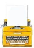 Machine à écrire manuelle portative de machine à écrire jaune Photographie stock libre de droits