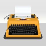Machine à écrire réaliste avec la feuille de papier - sur le gris Illustration Stock