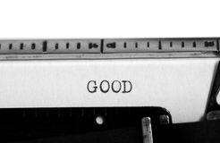 Machine à écrire Texte de dactylographie : bon Photo stock