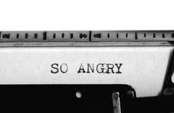 Machine à écrire Texte de dactylographie : si fâché Photo libre de droits