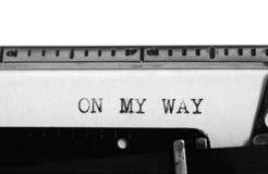 Machine à écrire Texte de dactylographie : sur mon chemin Image libre de droits