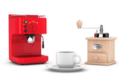 Machine à café d'expresso avec le moulin et la tasse à café en bois Photos libres de droits