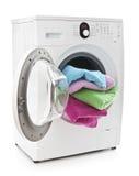 Machine à laver avec la blanchisserie Photo stock