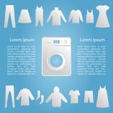 Machine à laver avec le calibre de vêtements Image libre de droits