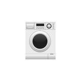 Machine à laver d'isolement sur le fond blanc Photos stock