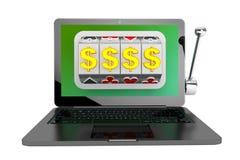 Machine à sous à l'intérieur d'ordinateur portable Image libre de droits
