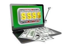 Machine à sous à l'intérieur d'ordinateur portable avec des dollars Photo libre de droits