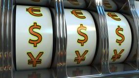 Machine à sous avec des symboles monétaires de dollar US Concepts de forex, de fortune ou de chance du ` s d'investisseur rendu 3 Photos stock