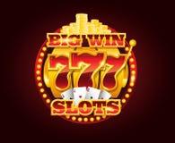Machine à sous d'or de vecteur de casino avec 777 nombres Image libre de droits