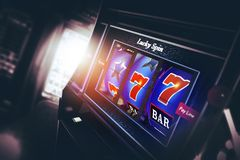 Machine à sous de casino 3D Photographie stock libre de droits
