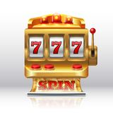 machine à sous du gros lot 777 Rotation d'or de casino, machine professionnelle de jeu d'isolement Fente de rotation de jeu réali illustration libre de droits