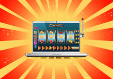 Machine à sous en ligne de gros lot sur l'ordinateur portable illustration libre de droits