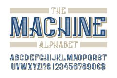 Machine alphabet with numbers and currency signs.  stock illustration