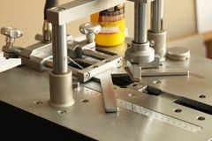 Machine for assembling frames, Windows, furniture, paintings, photos. royalty free stock photos
