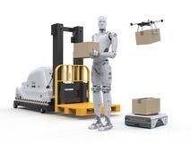 Machine automatique dans l'entrepôt illustration stock