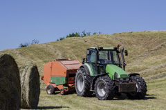 Machine for bales of hay Royalty Free Stock Photo